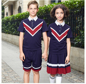 夏季英倫風學生短袖校服運動服套裝定制