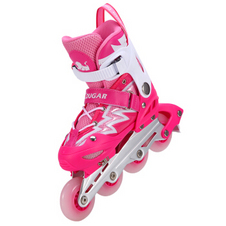 【美洲狮COUGAR】MZS835L溜冰鞋儿童闪光轮滑鞋男女滑冰旱冰鞋 闪电粉红