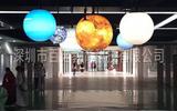百諾科技館懸吊太陽系八大行星模型 電動旋轉發光太陽系行星模型