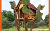 厂家定制动物造型滑梯组合 木质仿生攀爬 创意木质仿生类滑梯