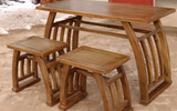书法桌国学课桌实木国学馆培训班桌椅书画桌仿古画案老榆木马鞍桌